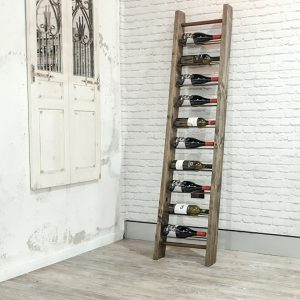 Timber ladder wine rack